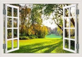 Peaceful Garden Sunlight Wall Decal Landscape Wallpaper Window Mural Window Wall Mural