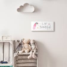 Shop The Kids Room By Stupell I Am Beautiful Word Kids Nursery Unicorn Pink Watercolor Design 7x17 Proudly Made In Usa 7 X 17 Overstock 28718857