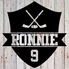 Custom Hockey Shield Car Decal With Name And Number Jersey Girl Custom Tees