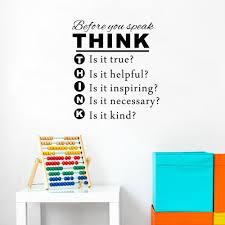 Before You Speak Think Vinyl Wall Decal Classroom Playroom Kids Room School Wall Decor Aliexpress Com Imall Com