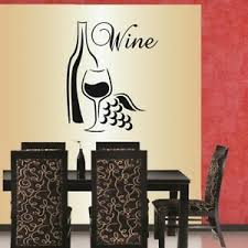 Vinyl Decal Wine Glass Bottle Grapes Kitchen Dining Room Winery Wall Decor 598 Ebay