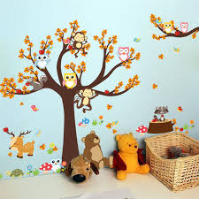 Super Sale A3ad1 Jungle Forest Tree Animal Owl Monkey Bear Deer Wall Stickers Kids Baby Nursery Rooms Bedroom Diy Wall Decal Home Decor Mural Cicig Co