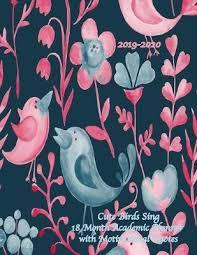 cute birds sing month academic planner