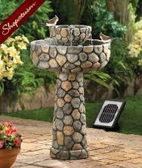 faux cobblestone fountain solar garden