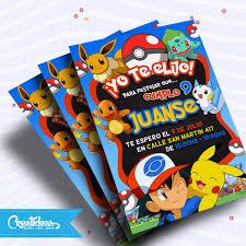 Pokemon Tarjetas Invitaciones Infantiles Personalizadas 145 52