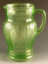 green depression glass pitcher rope rim