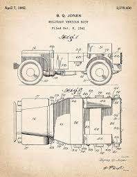 Patent Drawing for the 1942 Willys JEEP Military Vehicle Body by Byron Q.  Jones Photograph by StockPhotosArt Com