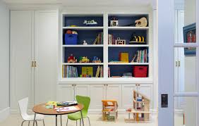 Bright Toy Organizer With Bins In Kids Eclectic With Playroom Next To Basement Storage Alongside Blue Accent Wall And Craft Table