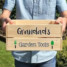 personalised wooden garden tools crate