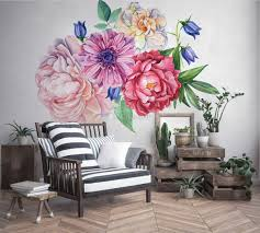 Watercolor Pink Peony Tulip Daisy Floral Bouqet Wall Decal Sticker Wall Decals Wallmur