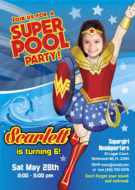 Pool Party Wonder Woman Invitation Turn Your Little Girl Into