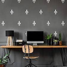 Amazon Com Set Of 10 Vinyl Wall Art Decals Fleur De Lis 7 X 4 Each Trendy Artistic Mid Century French Design For Office School Living Room Store Restaurant Coffee