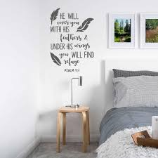 Bible Verse Wall Decals Quotes He Will Cover You With His Feathers Psalm 91 4 Vinyl Decal For Bedroom Living Room Decor Z971 Wall Stickers Aliexpress