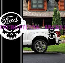 Amazon Com Ford F 150 Skull Truck Side Stripes Decals Off Road Stickers Set Of 2 Car Decal Black Home Kitchen