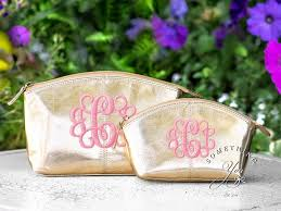 monogrammed leather cosmetic bags