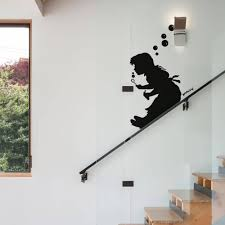Bubble Girl Slide Banksy Wall Sticker Bedroom Living Room Artist Graffiti London Wall Decal Kids Room Vinyl Home Decor Wall Stickers Aliexpress