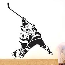 Ice Hockey Player Sports Wall Decor Removable Vinyl Decal Sticker Art Diy Mural 60x60 Cm Wish