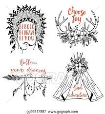 vector art vector hand drawn boho style design elements