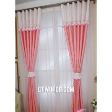 Dream Cute Girls And Kids Room Pink And White Polka Dot Curtains