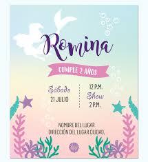 Invitacion Sirena Multicolor Disenos Digitales Personalizados