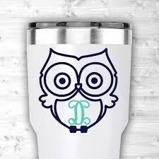 Yeti Tumbler Owl Monogram Decal Yeti Monogram Owl Sticker Etsy