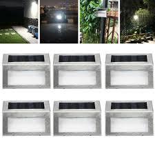 6 Pcs Super Bright Solar Powered Door Fence Wall Lights Led Outdoor Garden Lamp For Sale Online Ebay