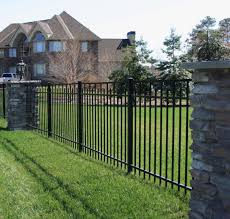 Beautiful Metal Estate Fencing With Stone Columns In Maryland Fence Design Wrought Iron Fence Panels Modern Fence Design