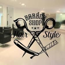 Barbershop Straight Razor Wall Sticker Sign Logo Decal Barbershop Stickers Barber S Window Decals Logo Hair Salon Decors G172 Wall Stickers Aliexpress