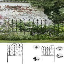 Valla Jardin Plegable Decoracion Negro Resistente A La Intemperie 5 Paneles De Metal Recubierto Ebay