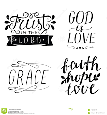 set of hand lettering christian quotes god is love faith hope