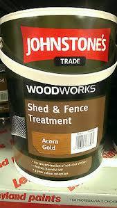 5lt Johnstones Shed And Fence Paint Green Black Red Gold Dark Brown Chestnut Ebay