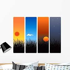Amazon Com Wallmonkeys Sunrise Noon Sunset And Wall Decal Peel And Stick Graphic 36 In W X 27 In H Wm104393 Furniture Decor
