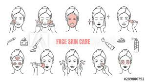 face skin care icons makeup removal