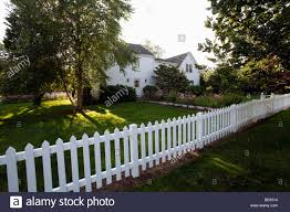 House With A White Picket Fence Cape Cod Hyannis Massachusetts Stock Photo Alamy