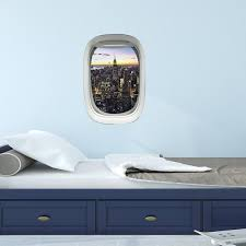 Airplane Window City View Wall Decal Peel And Stick Aviation Etsy