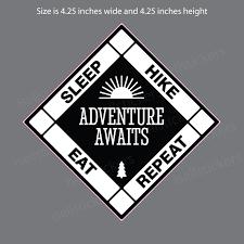 Eat Sleep Hike Repeat Hiking Biking Camping Sticker Window Decal