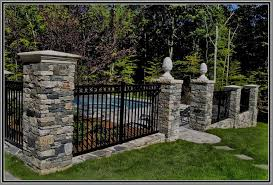 Aluminium Fence With Stone Columns By Artistic Outdoors Aluminum Fence Fence Design Stone Columns