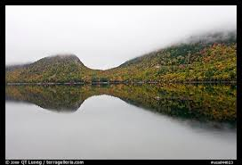 Picture/Photo: Hills, reflections, and fog in autumn, Jordan Pond. Acadia  National Park