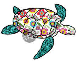 Blue Paisley Sea Turtle Decal Colorful Pattern Beach Bumper Etsy