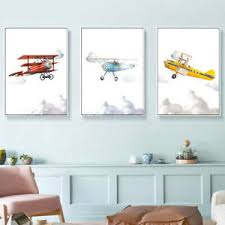 Airplane Canvas Printing Kids Boys Room Playroom Wall Poster Cartoon Art Decor Ebay
