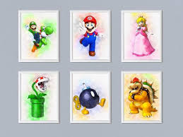 Set Of 6 Super Mario And Other Characters Prints Kids Room Decor Printable Download By Digitalpaintsshop Catch My Party