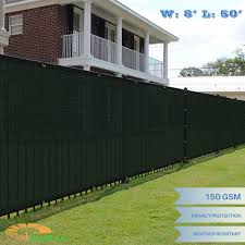 8ft X 50ft Dark Green Fence Privacy Screen Commercial Outdoor Backyard Shade Windscreen Mesh Fabric 3 Years Warranty Customized Sizes Available