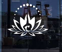 Window Sign For Business Vinyl Wall Decal Flower Lotus Yoga Center Log Wallstickers4you
