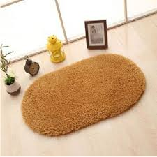 Sunsky Faux Fur Rug Anti Slip Solid Bath Carpet Kids Room Door Mats Oval Bedroom Living Room Rugs Size 160x230cm Khaki