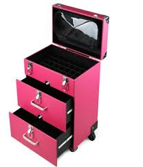 nail artist 4 wheel rolling makeup case