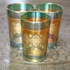set of six moroccan tea glasses green