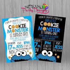 Cookie Monster Birthday Invite Cookie Monster Invitation Cookie