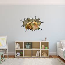Vwaq Grizzly Bear Wall Decal Crack In The Wall Zoo Animal Peel Stick