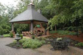 outdoor fireplace and firepit