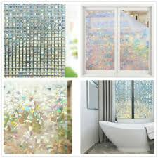 3d Frosted Privacy Glass Stickers Cover Film Non Adhesive Window Door Decal Home Ebay